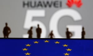 The EU flag and a Huawei 5G poster