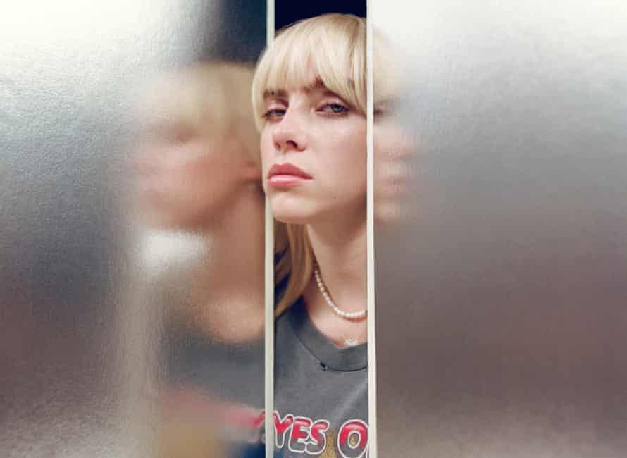 Billie Eilish's face between doors