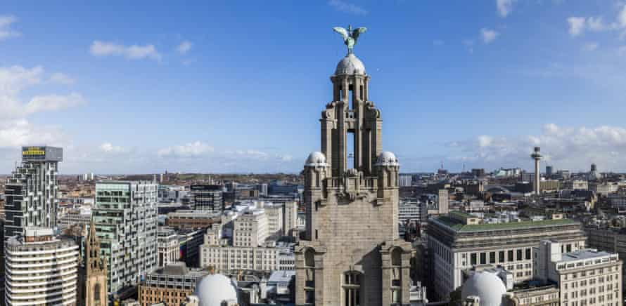 Liver Bird on the Royal Liver building facing across the city of Liverpool