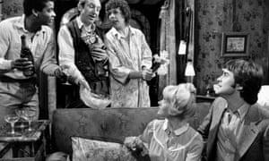 Deborah Watling, second right, in Rising Damp, in the 1970s.