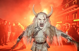 Krampus folklore celebration, Austria.