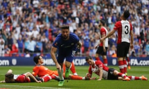 Olivier Giroud left Southampton defenders floored with his opening goal at Wembley