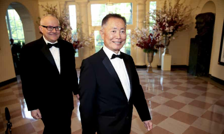 George and Brad Takei at a White House dinner for Japanese Prime Minister Shinzo Abe, 28 April 2015.