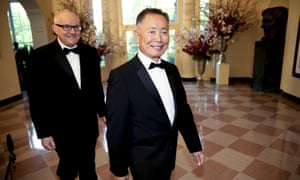 George Takei (right) and Brad Takei arrive.