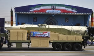 Iran's Khoramshahr missile is displayed by the Revolutionary Guard during a military parade.