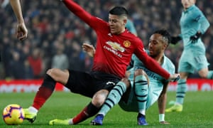 Marcos Rojo was making a belated first appearance of the season and put in a battling display with some robust tackling against Arsenal.