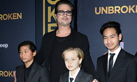 Brad Pitt at the premiere of Angelina Jolie's Unbroken in 2014 with three of his children, Pax, Shiloh and Maddox.