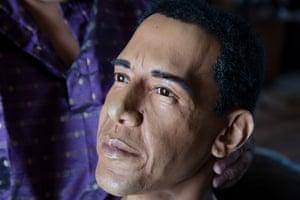 a wax bust of President Barack Obama.