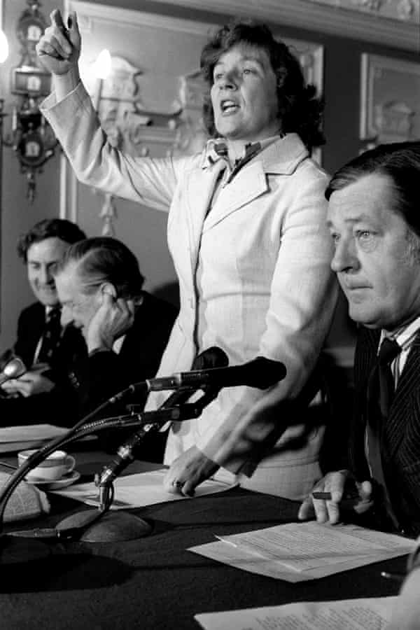 Shirley Williams, secretary of state for prices and consumer protection, in 1975, at a London press conference on behalf of the Labour campaign for Britain in Europe.