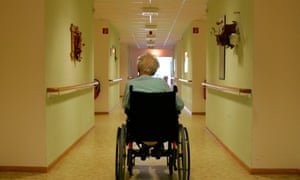 A care home resident in a wheelchair