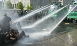 Police use water cannons in Leipzig, Germany.