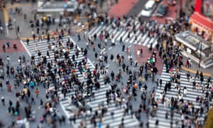 Shibuya intersection, Tokyo. This pedestrian crossing is said to be the busiest in the world, with many hundreds of people crossing every few minutes