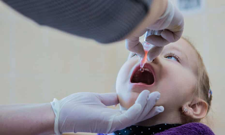 A child in Ukraine is vaccinated against polio using Opvero on 12 February 2016.