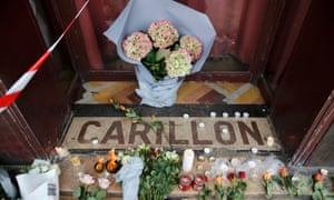 Flowers on the doorstep of the Le Carillon restaurant in Paris.