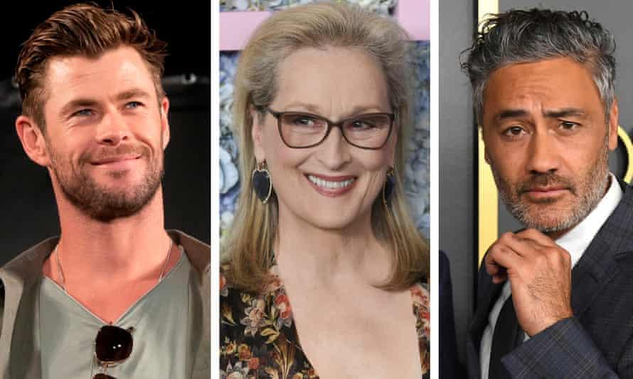 Chris Hemsworth, Meryl Streep and Taika Waititi.