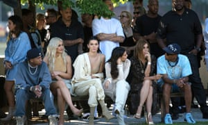 Tyga, Kylie and Kendall Jenner, Kim Kardashian, Carine Roitfeld and Pharrell Williams in the front row for the Yeezy show at New York Fashion Week in September 2016