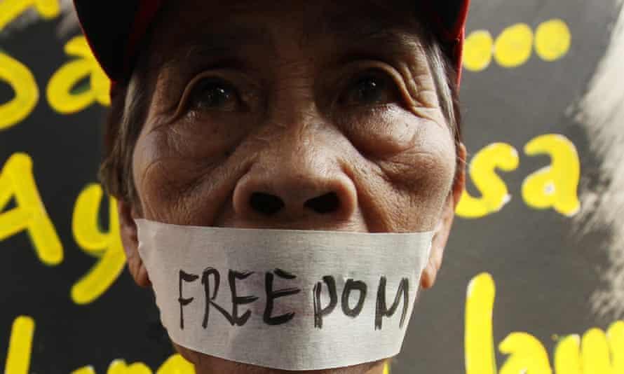 Human Rights' protestor.