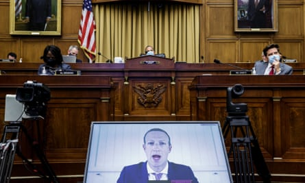Facebook CEO Mark Zuckerberg testified remotely before a Congressional subcommittee in July.