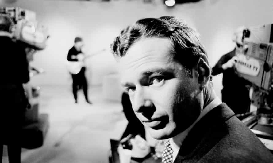 Brian Epstein at a Granada Television studio in Manchester during a recording of Late Scene Extra with the Beatles, November 1963.