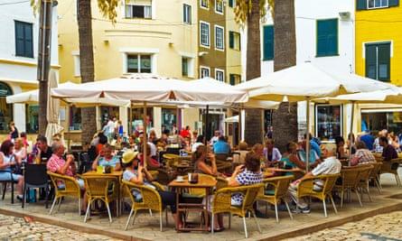 An outdoor cafe in Mahón, Menorca – a perfect place for sobremesa.