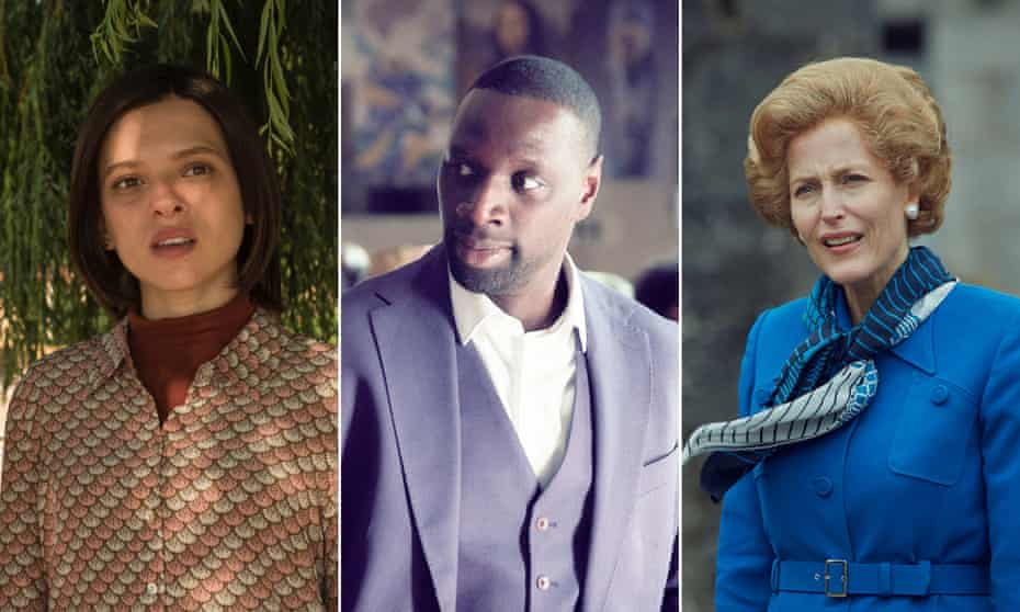 (From left) Shira Haas in Unorthodox, Omar Sy in Lupin and Gillian Anderson in The Crown