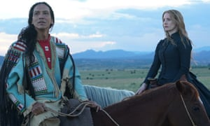 'A film that shows that art is political' ... Michael Greyeyes and Jessica Chastain in Woman Walks Ahead