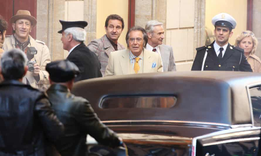 Al Pacino filming House of Gucci in Rome in March.
