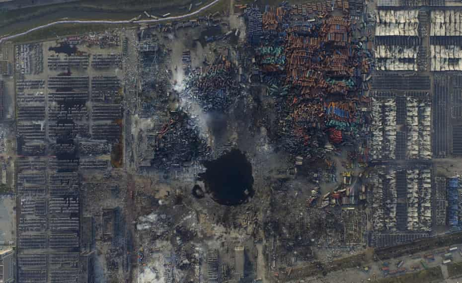 An aerial picture of the site of explosions at the Binhai new district, Tianjin, China, August 16, 2015