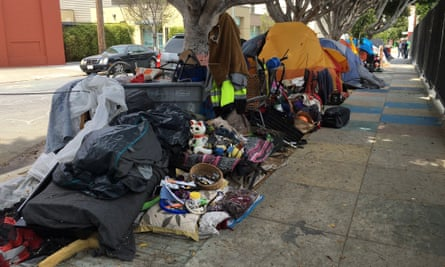 A view of the homeless encampment.