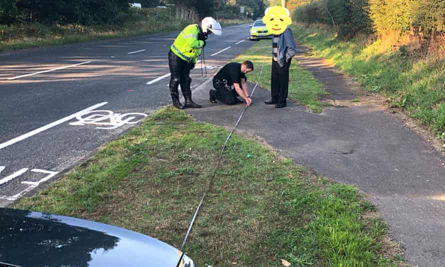 An image of an 87-year-old driver who failed an eye test carried out by police officers at the roadside.