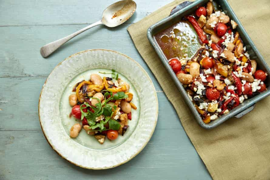 Roasted veg with butter beans and feta: lots of goodness, little effort.