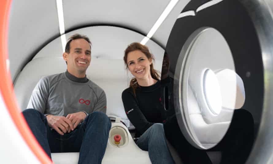 Virgin Hyperloop executives Josh Giegel and Sara Luchian reached speeds of up to 107 miles per hour (172km/h).