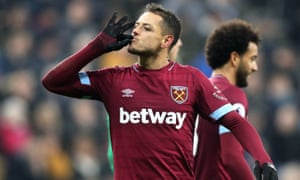 Javier Hernández celebrates scoring West Ham's second goal against Newcastle.