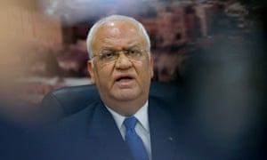 Palestine Liberation Organisation's Secretary General Saeb Erekat speaks to journalists during a press conference in the West Bank city of Ramallah on June 24, 2018.