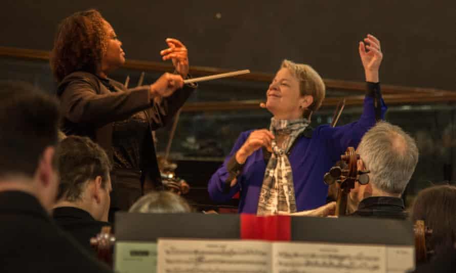 Marin Alsop and Alba Bonfim at the SBC conducting workshop in January 2017