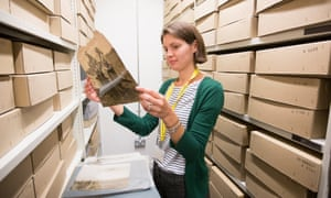 Philippa examines an artefact in the Guardian archives. ( Pictures by Graeme Robertson)