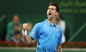 Novak Djokovic reacts after winning a key point on the way to taking the first set.