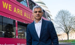 Sadiq Khan in front of the 'We are all Londoners' bus