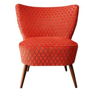 upcycled 1950s Bartholomew cocktail chair in citrus orange velvet from rockett st george