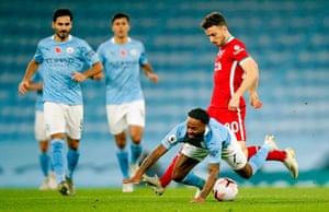 Sterling goes down late after a challenge by Jota