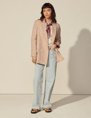 Pair with straight leg jeans for a relaxed feelLurex check blazer, £409, jeans, £119, and shirt, £219, sandro-paris.com