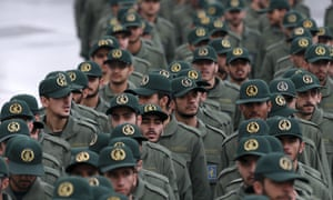 Iranian Revolutionary Guard members arrive for a ceremony celebrating the 40th anniversary of the Islamic Revolution in Tehran, Iran, 11 February 2019.