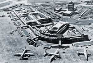 Now in full operation, seen here is the Central Area, with two SAS DC-6Bs and a BEA Ambassador in the foreground of this 1955 aerial shot