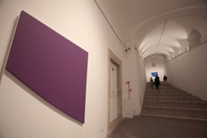 Works by Kelly displayed during the Jean-Auguste-Dominique Ingres-Ellsworth Kelly exhibition preview at Villa Medici on June 19, 2010 in Rome