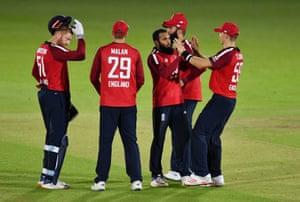 Rashid celebrates the wicket of Finch.