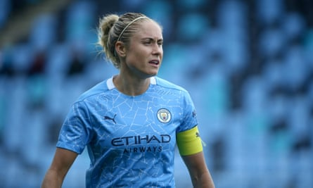 Manchester City's Steph Houghton during a friendly against Everton ahead of the new WSL season.