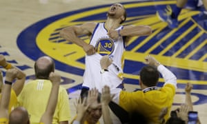 Stephen Curry celebrates the Warriors' NBA playoff victory over Oklahoma City Thunder  in front of his team's fans