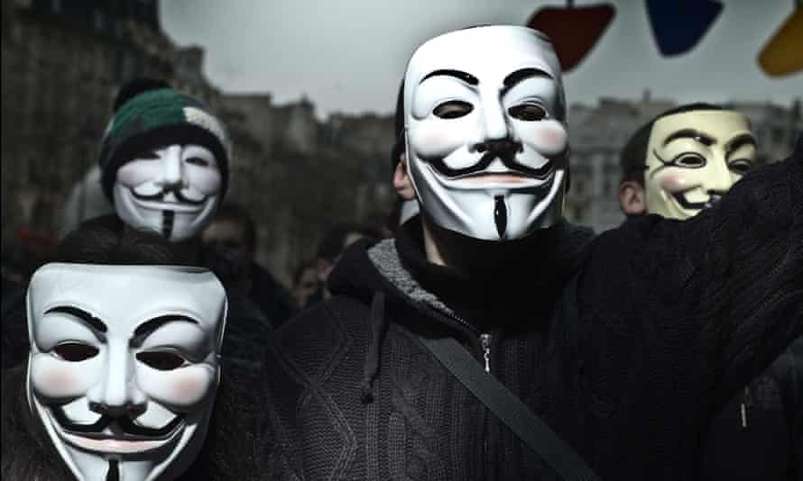 Anonymous protestors at a demonstration in Paris, 2011.