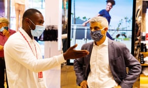Sadiq Khan visits Uniqlo, among other shops in the West End.