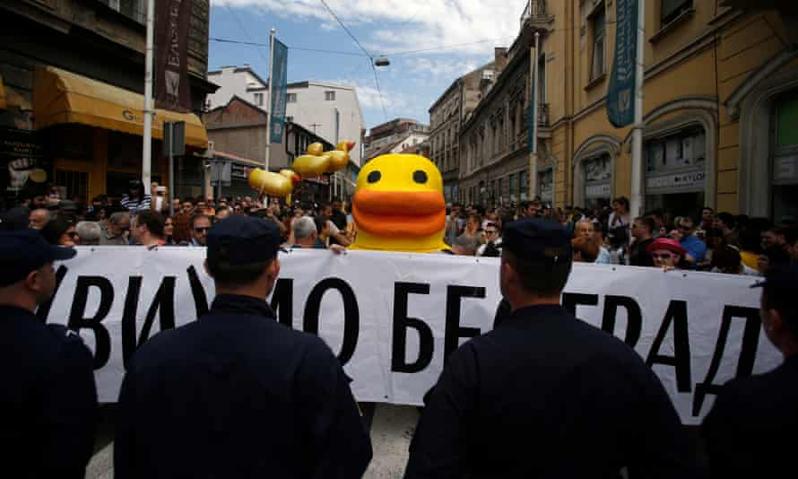 A protest in April against the Belgrade Waterfront project.